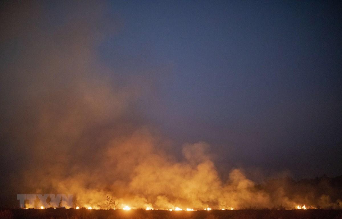 Khói lửa bốc lên ngùn ngụt từ đám cháy rừng Amazon tại Nova Santa Helena, bang Mato Grosso, Brazil. (Ảnh: AFP/TTXVN)
