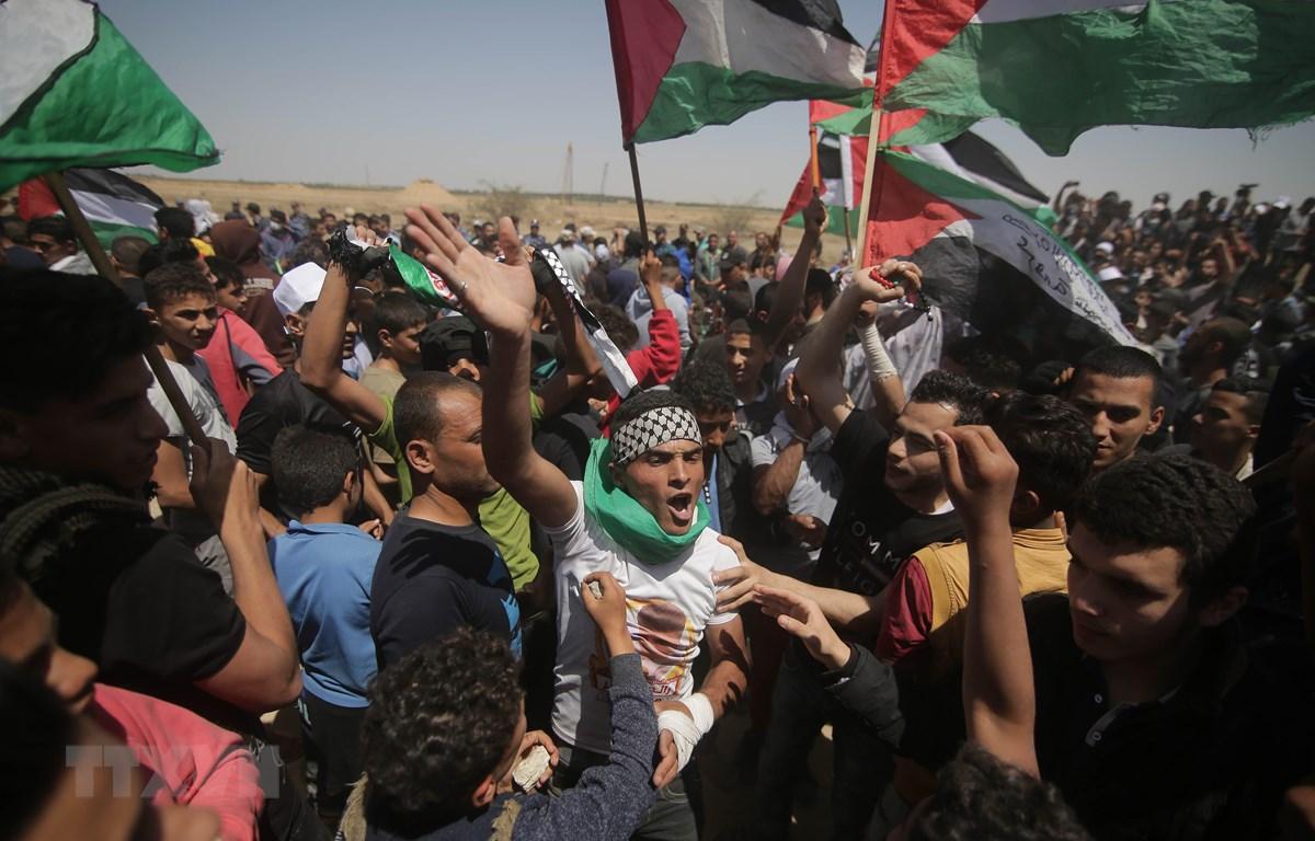 Người biểu tình Palestine đụng độ với binh sỹ Israel tại biên giới Dải Gaza - Israel. (Ảnh: THX/TTXVN)