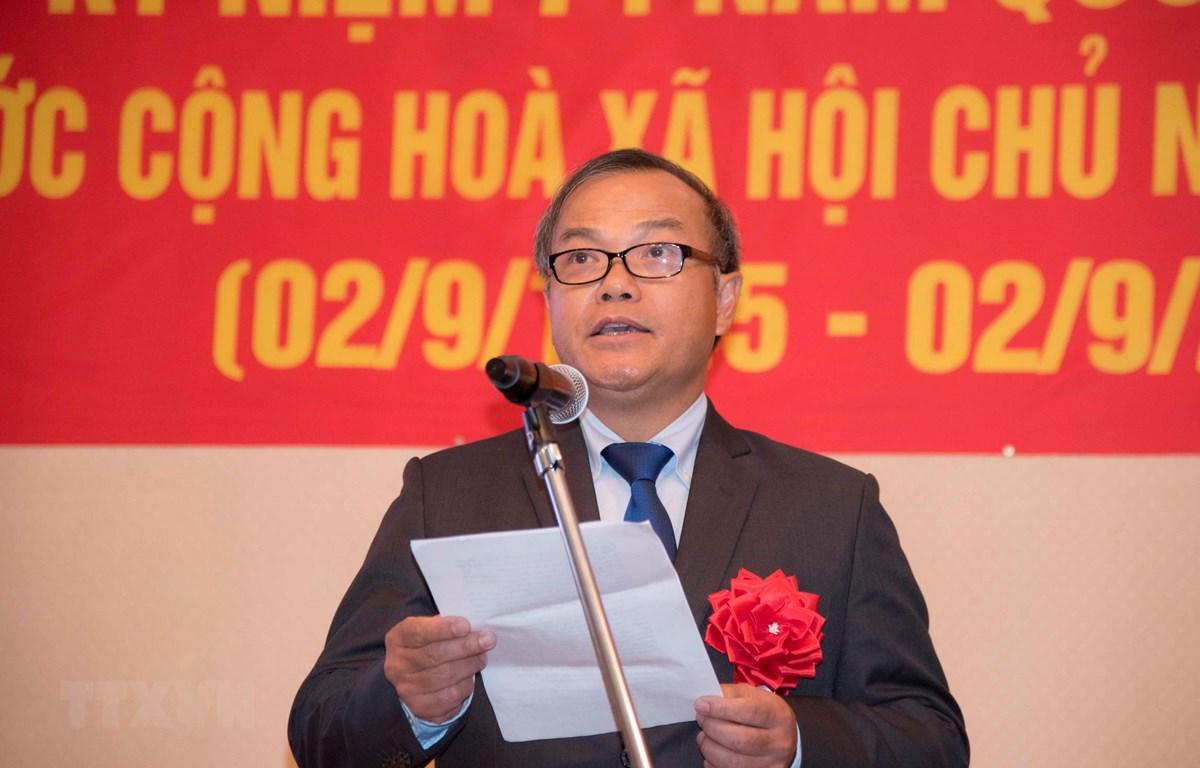 Đại sứ Việt Nam tại Nhật Bản Vũ Hồng Nam phát biểu khai mạc Lễ kỷ niệm. (Ảnh: Thành Hữu/TTXVN)