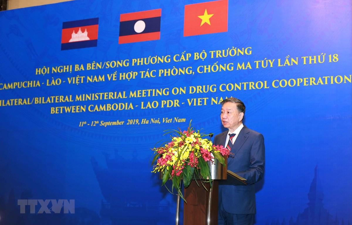 Đại tướng Tô Lâm, Bộ trưởng Bộ Công an phát biểu khai mạc Hội nghị. (Ảnh: Doãn Tấn/TTXVN)