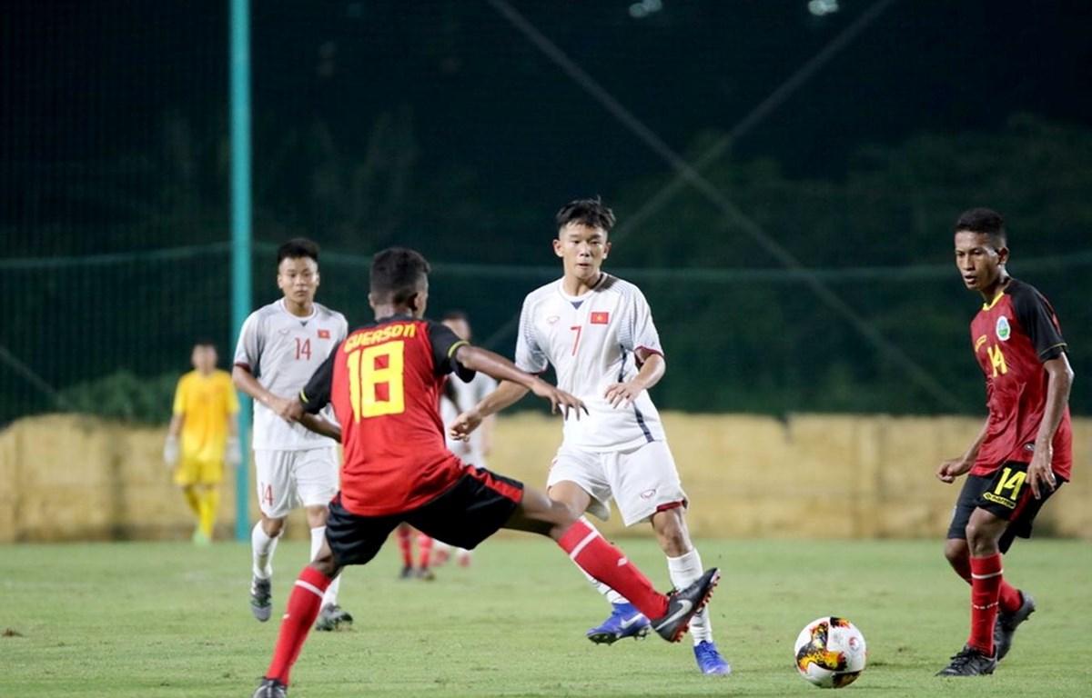U16 Việt Nam giành 3 điểm đầu tiên sau khi đánh bại U16 Timor Leste. (Nguồn: VFF)