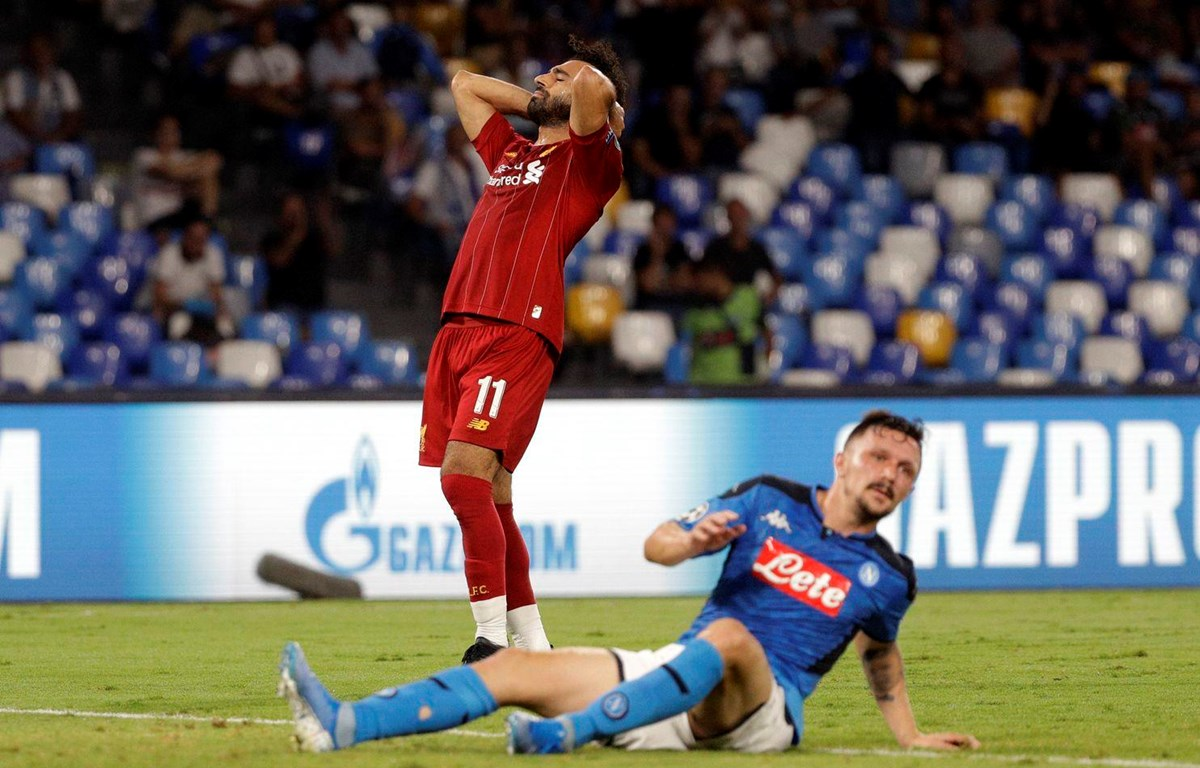 Salah bất lực trước Napoli. (Nguồn: Getty Images)