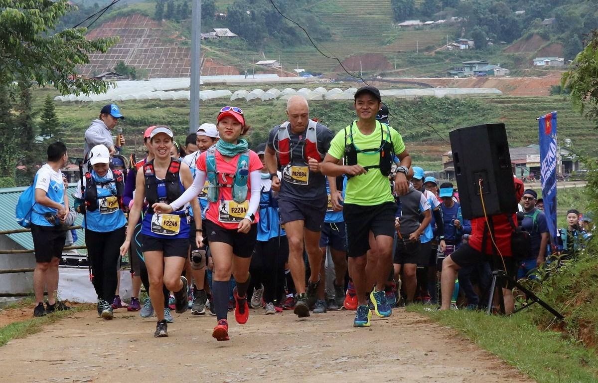 Các vận động viên tranh tài trên đường chạy 21 km. (Ảnh: Quốc Khánh/TTXVN)