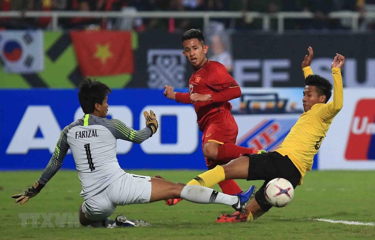 Việt Nam hướng đến chiến thắng trước Malaysia trên sân Mỹ Đình. (Ảnh: Trọng Đạt/TTXVN)