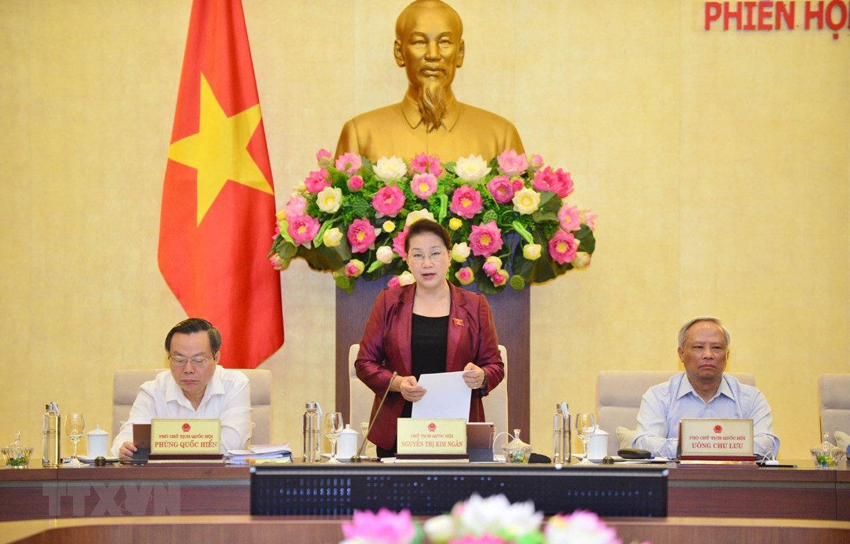 Chủ tịch Quốc hội Nguyễn Thị Kim Ngân phát biểu khai mạc Phiên họp thứ 38. (Ảnh: Trọng Đức/TTXVN)