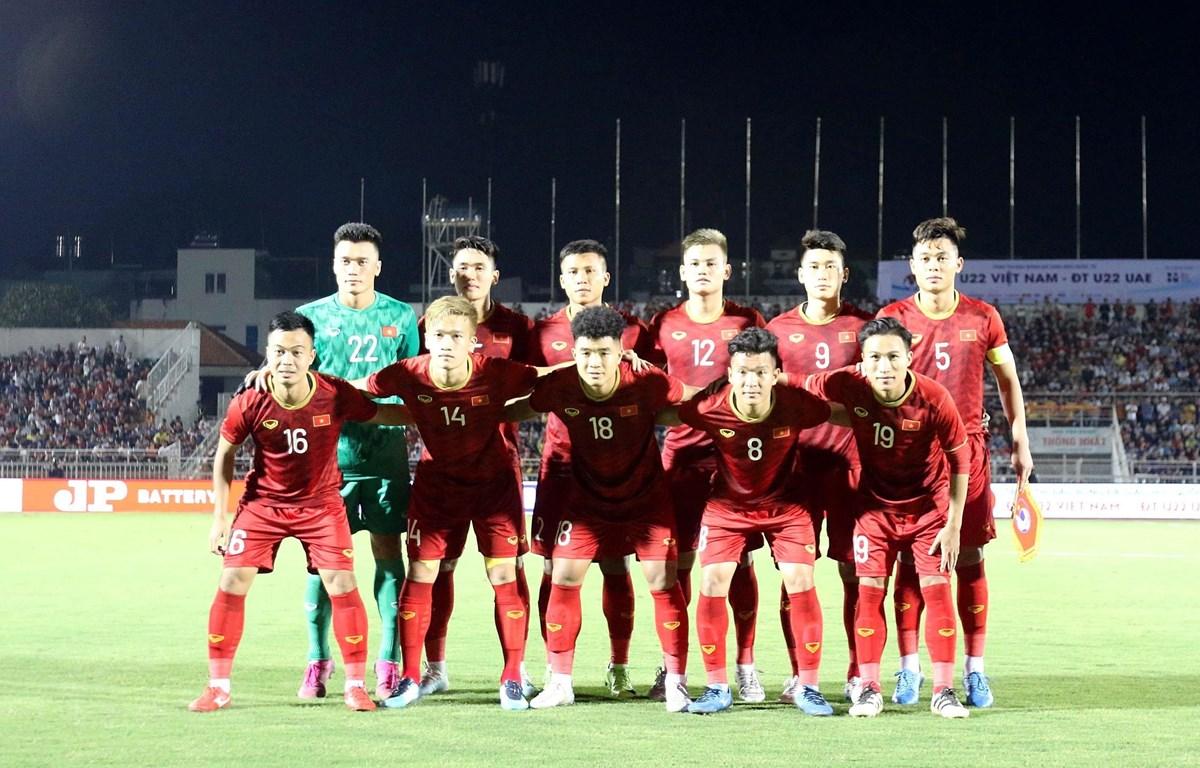 Các cầu thủ U22 Việt Nam. (Ảnh: Thanh Vũ/TTXVN)
