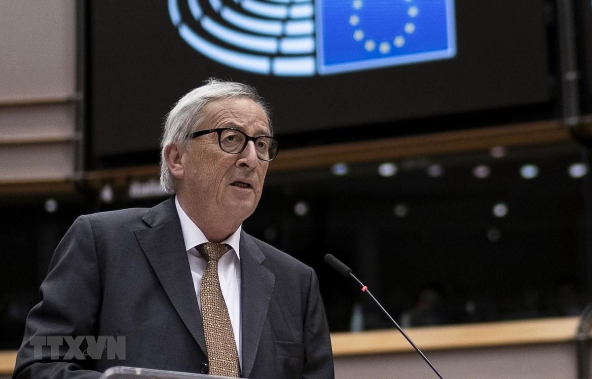 Chủ tịch Ủy ban châu Âu Jean-Claude Juncker phát biểu tại Brussels, Bỉ. (Ảnh: AFP/TTXVN)