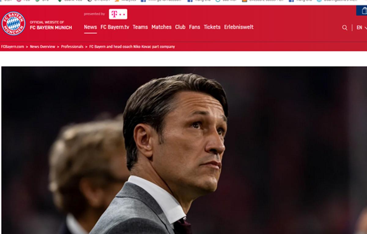 """Website của Fc Bayern đăng tải tin """"chia tay"""" Niko Kovac k (Nguồn:Fcb.de)"""