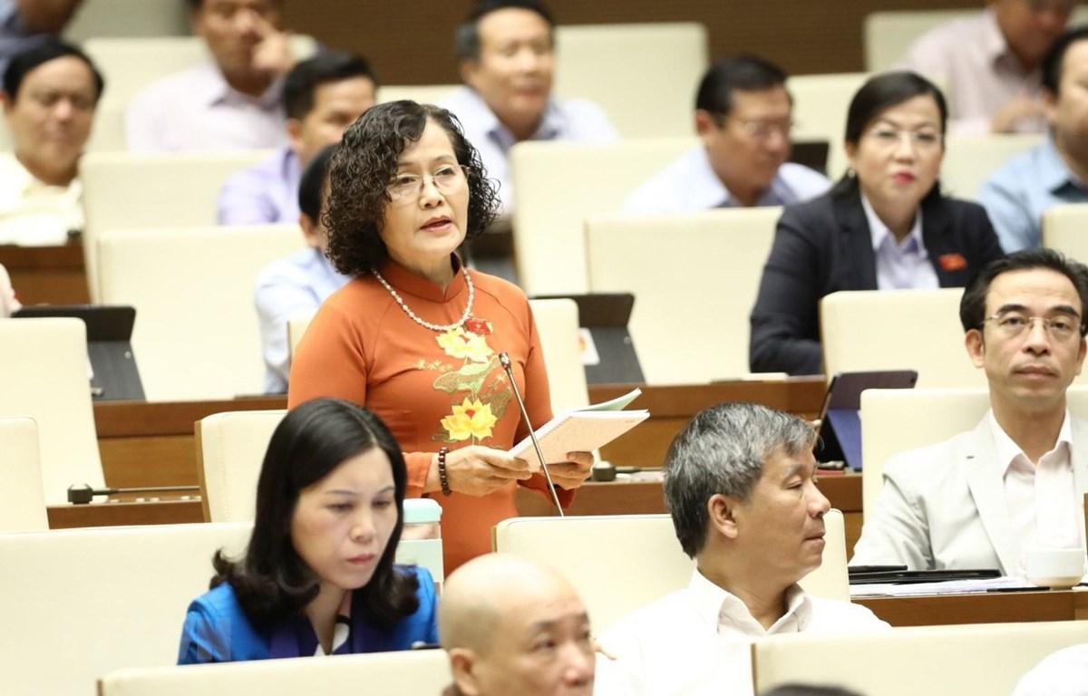 Đại biểu Quốc hội Thành phố Hà Nội Trần Thị Quốc Khánh phát biểu. (Ảnh: Văn Điệp/TTXVN)