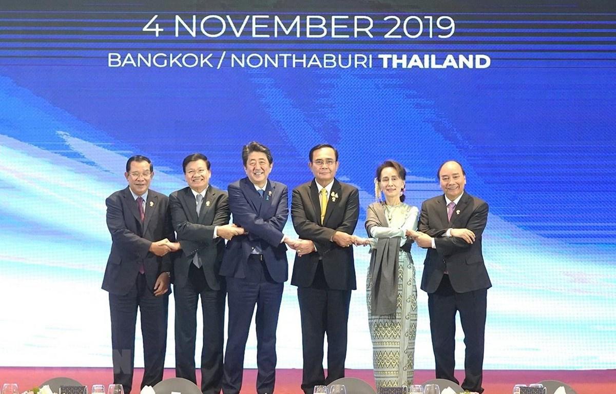 Thủ tướng Nguyễn Xuân Phúc dự Hội nghị Cấp cao Mekong-Nhật Bản lần thứ 11. (Ảnh: Thống Nhất – TTXVN)