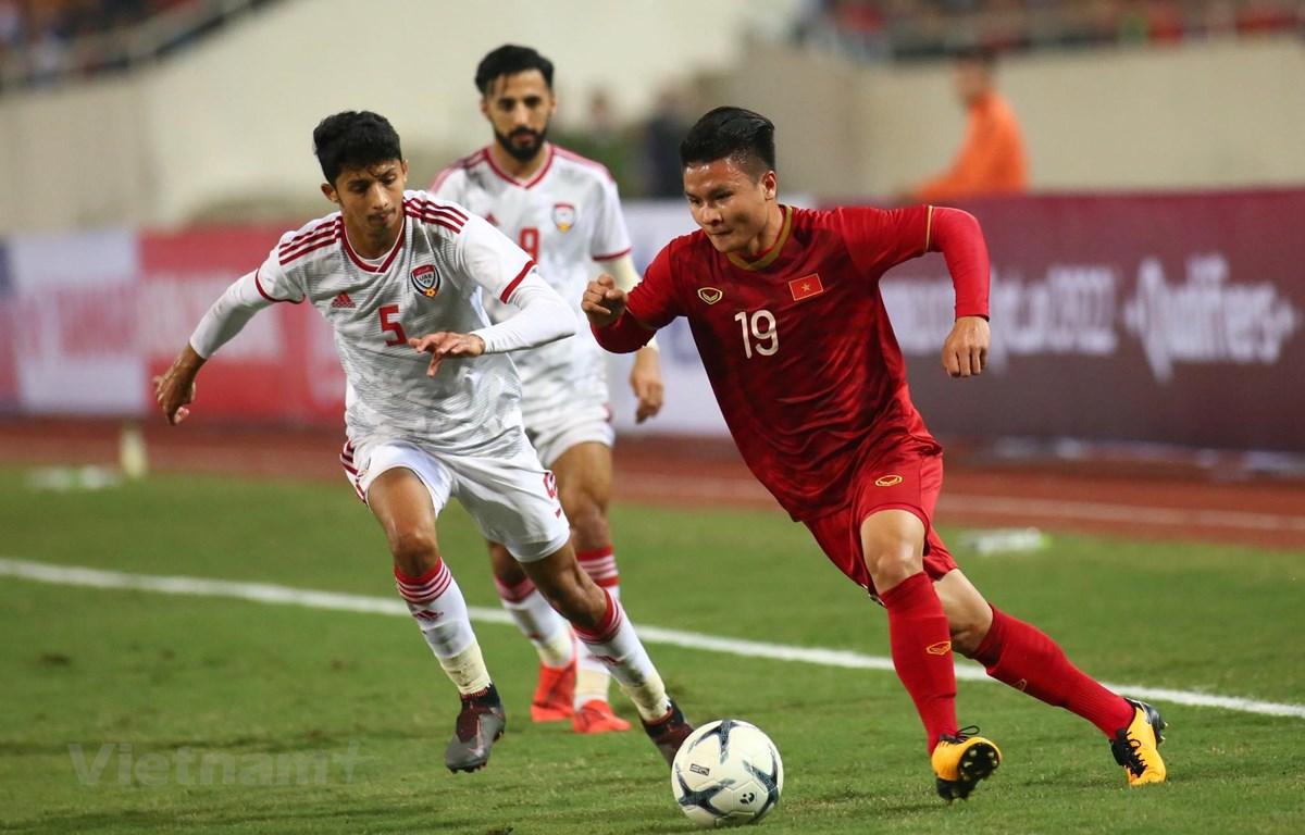 Quang Hải trong trận gặp UAE. (Ảnh: Nguyên An/Vietnam+)