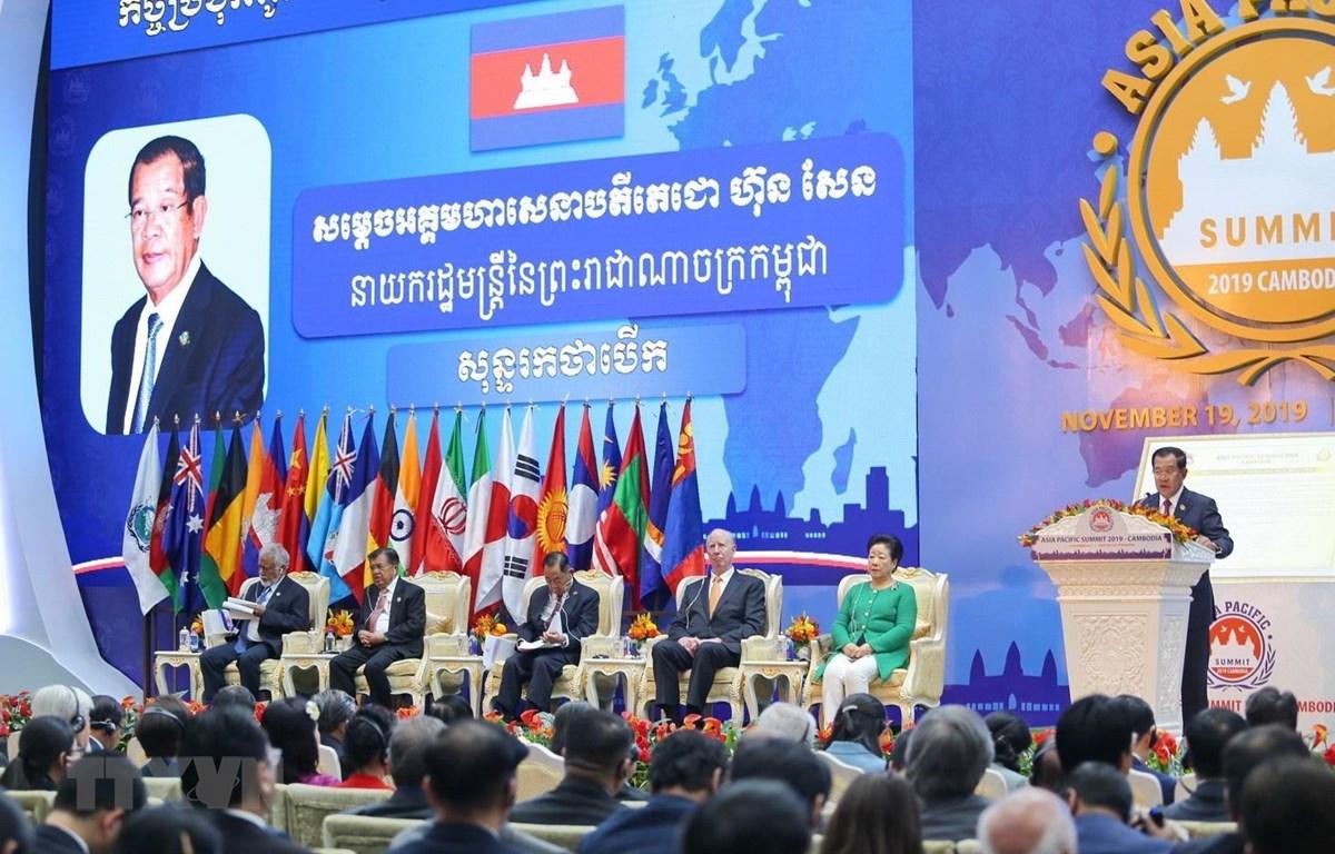 Thủ tướng Campuchia Samdech Hun Sen phát biểu tại phiên khai mạc. (Ảnh: Trang Nhung/TTXVN)