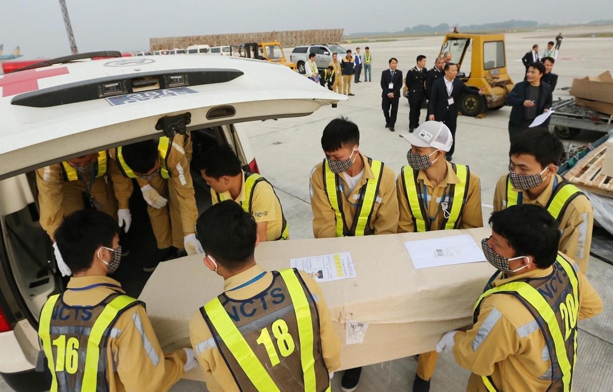 Nhân viên sân bay quốc tế Nội Bài vận chuyển thi thể các nạn nhân lên ô tô để đưa về quê nhà. (Ảnh: Lâm Khánh/TTXVN)