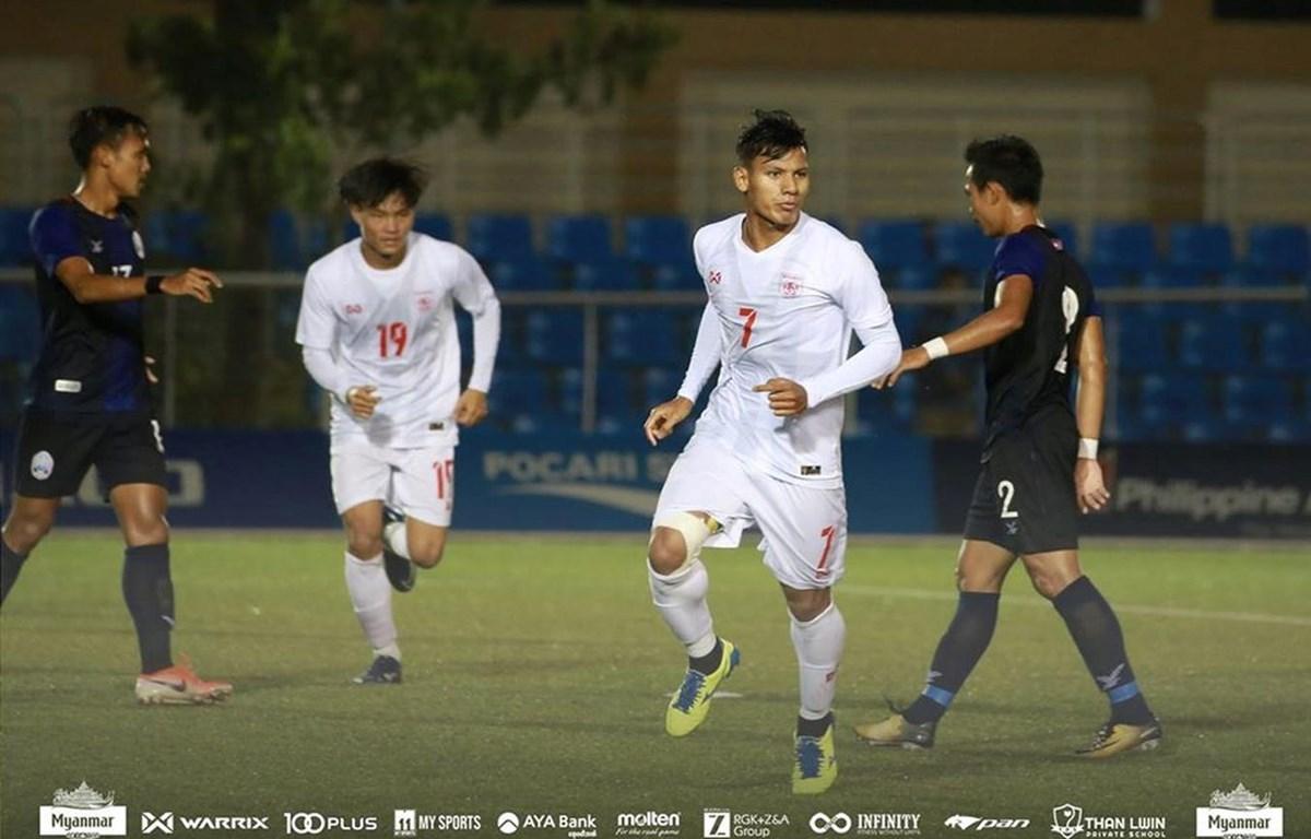U22 Myanmar (áo trắng) vào bán kết môn bóng đá nam SEA Games 30. (Nguồn: MFF)