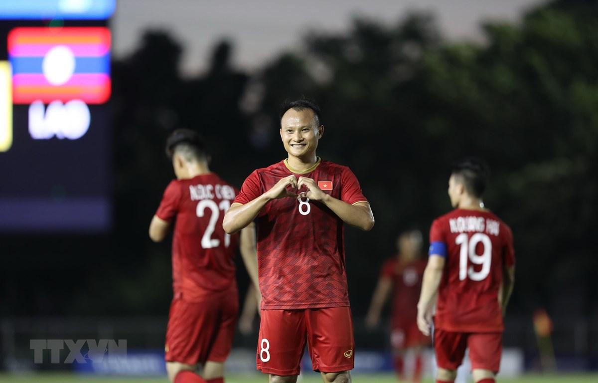 U22 Việt Nam quyết thắng U22 Singapore. (Ảnh: Hoàng Linh/TTXVN)