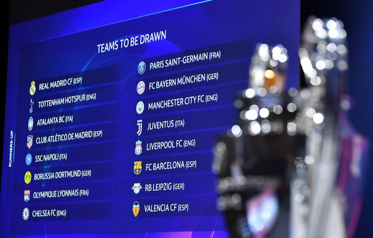 Kết quả bốc thăm phân cặp vòng 1/8 Champions League. (Nguồn: UEFA)
