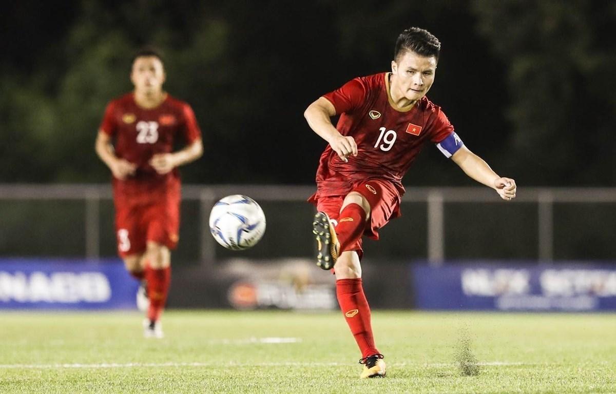 Quang Hải và đội tuyển U23 Việt Nam đang là á quân U23 châu Á. (Ảnh: Hoàng Linh/TTXVN)