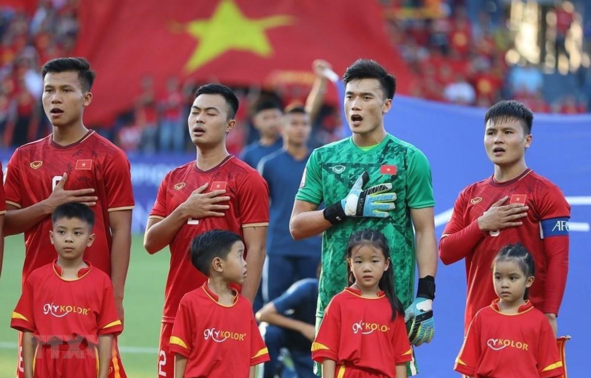 U23 Việt Nam nỗ lực tập luyện trước trận gặp U3 Jordan. (Ảnh: Hoàng Linh/TTXVN)