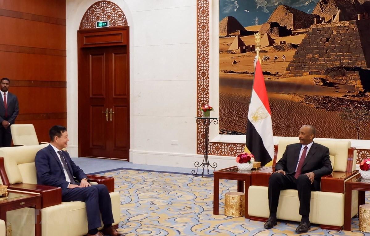 Chủ tịch Hội đồng chuyển tiếp nước Cộng hoà Sudan Abdalftah Alburhan A. Alrahman Alburhan tiếp Đại sứ Việt Nam Trần Thành Công. (Ảnh: Anh Tuấn/TTXVN)