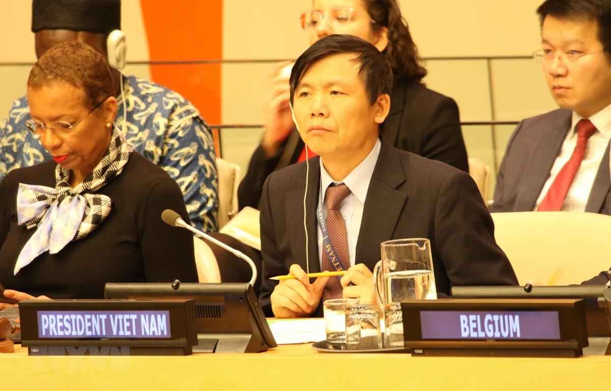 Đại sứ Đặng Đình Quý, Trưởng Phái đoàn Việt Nam tại LHQ chủ trì phiên họp tổng kết. (Ảnh: Hữu Thanh/TTXVN)