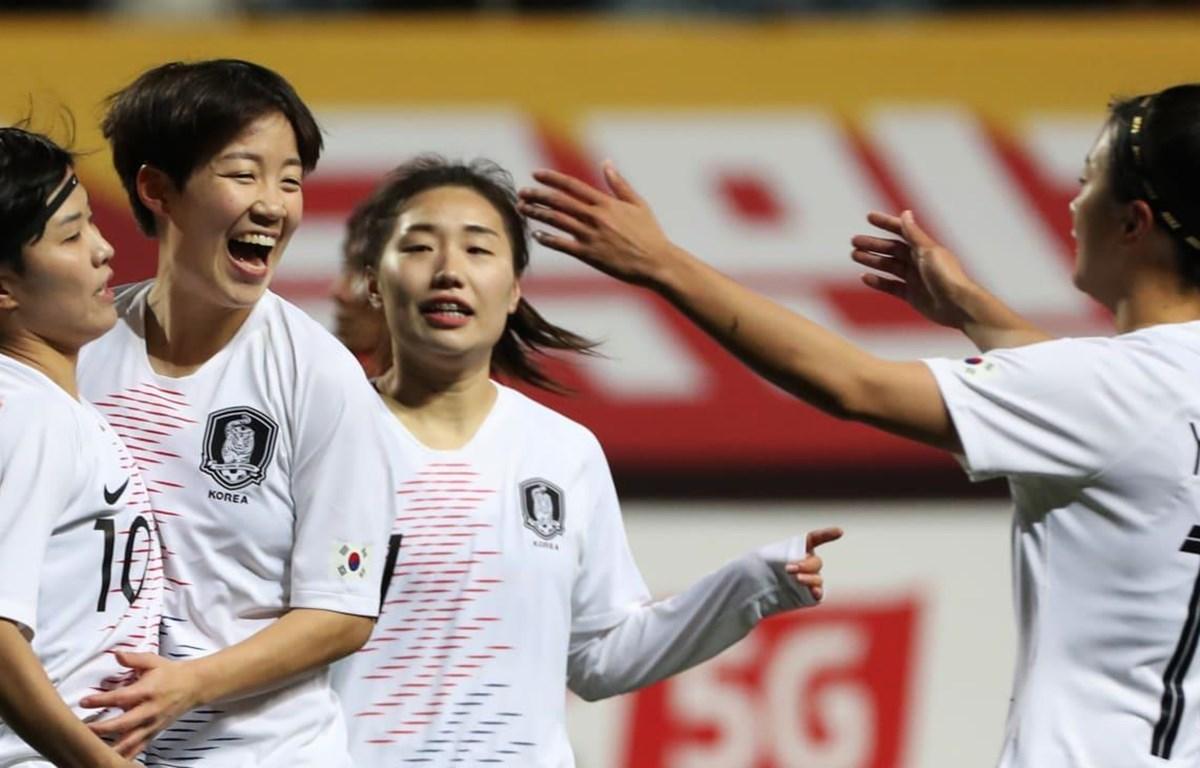 Tuyển nữ Hàn Quốc đặt 1 chân giành vé đi tiếp. (Nguồn: AFC)