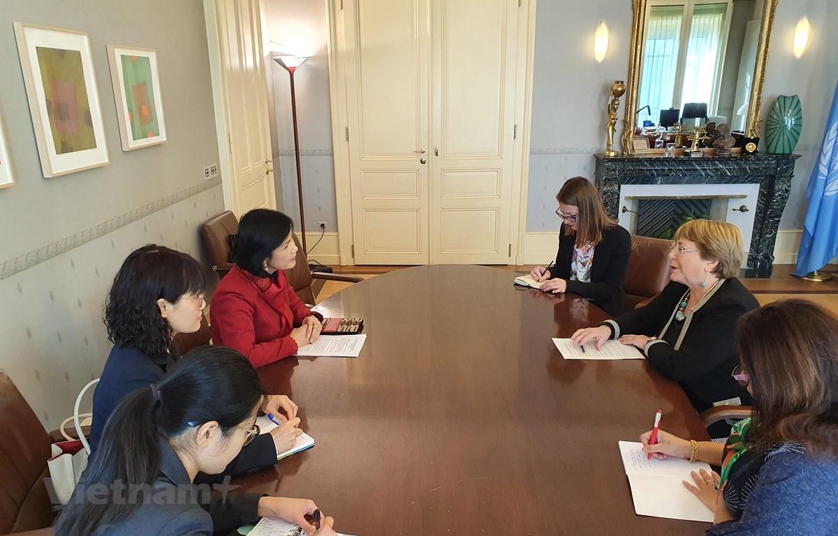 Đại sứ, Trưởng Phái đoàn Lê Thị Tuyết Mai dẫn đầu Phái đoàn Việt Nam chào xã giao và làm việc với Cao ủy Nhân quyền Liên hợp quốc. (Ảnh do Phái đoàn Việt Nam tại Geneva cung cấp)