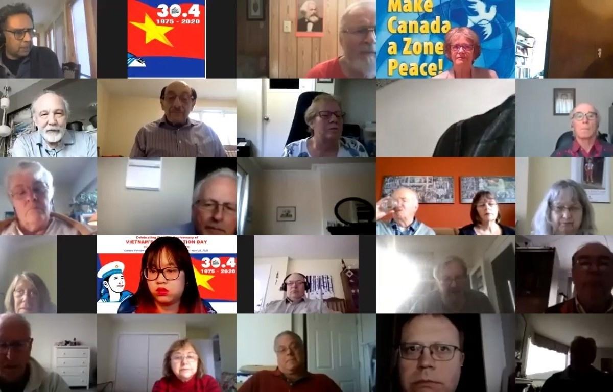 """Hội thảo trực tuyến """"45 năm thống nhất đất nước"""" dưới góc nhìn của bạn bè Canada"""". (Ảnh: TTXVN)"""