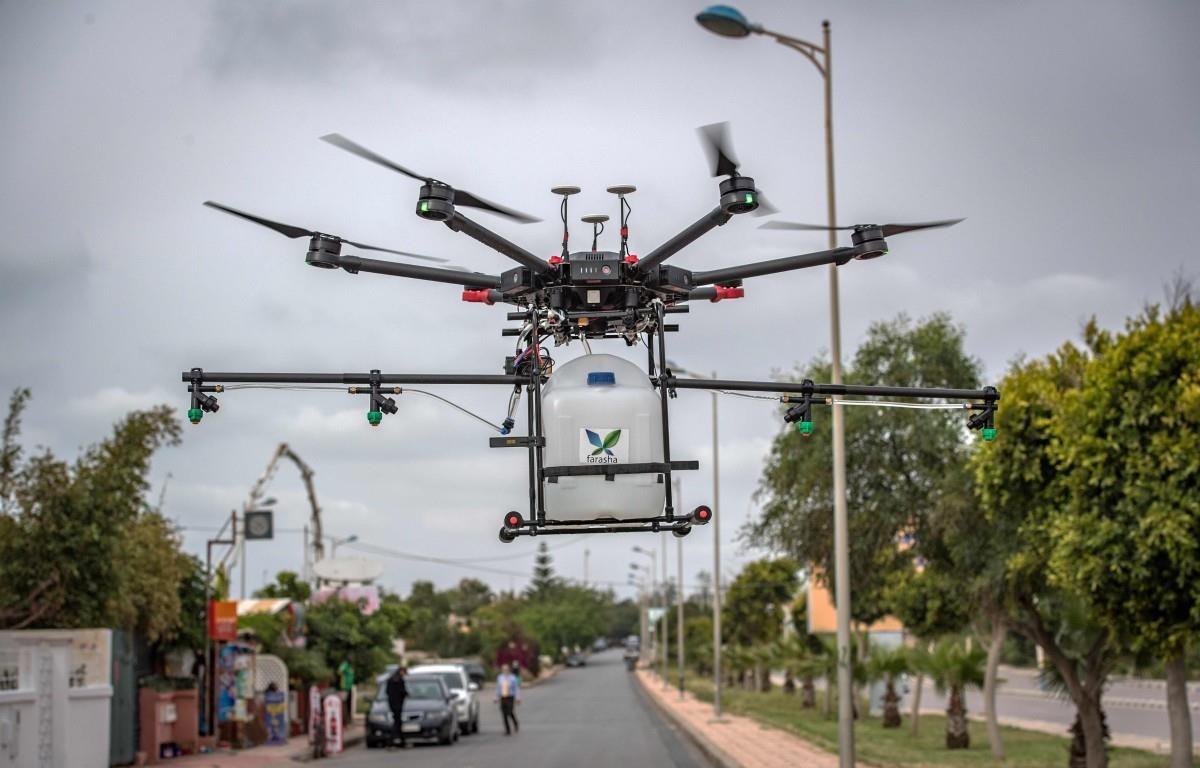 Maroc sử dụng thiết bị bay không người lái chống COVID-19. (Nguồn: AFP)