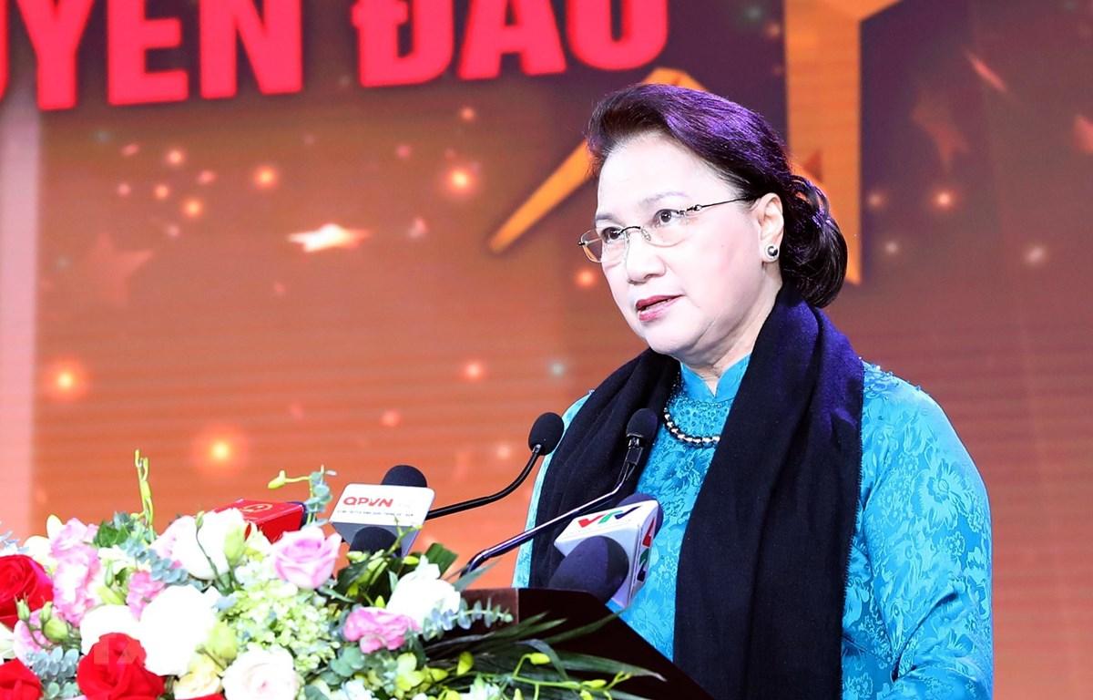 Chủ tịch Quốc hội Nguyễn Thị Kim Ngân phát biểu tại chương trình. (Ảnh: Trọng Đức/TTXVN)