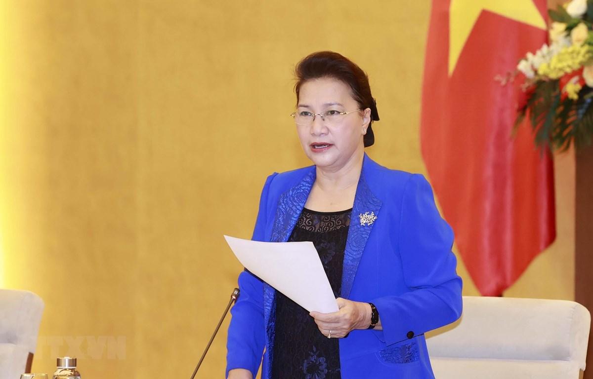 Chủ tịch Quốc hội Nguyễn Thị Kim Ngân, Chủ tịch AIPA 41 phát biểu tại phiên họp. (Ảnh: Trọng Đức/TTXVN)