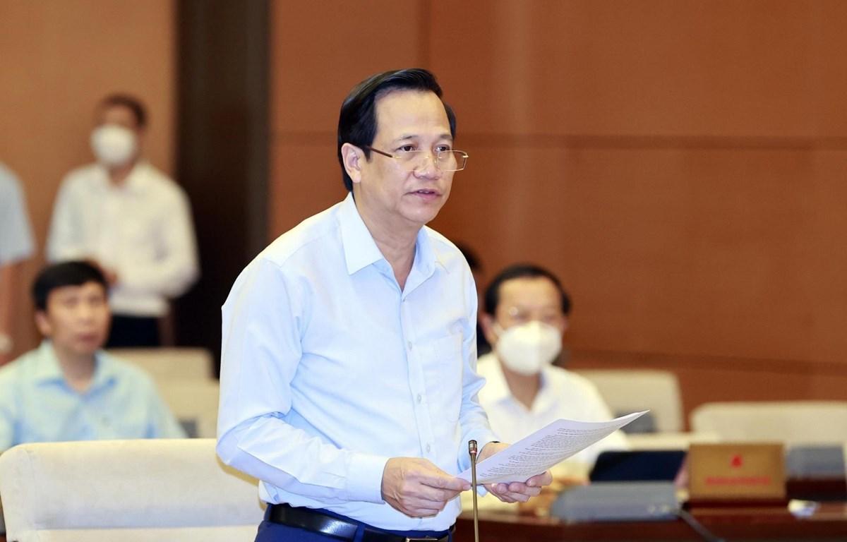 Bộ trưởng Bộ Lao động - Thương binh và Xã hội Đào Ngọc Dung trình bày tờ trình. (Ảnh: Trọng Đức/TTXVN)