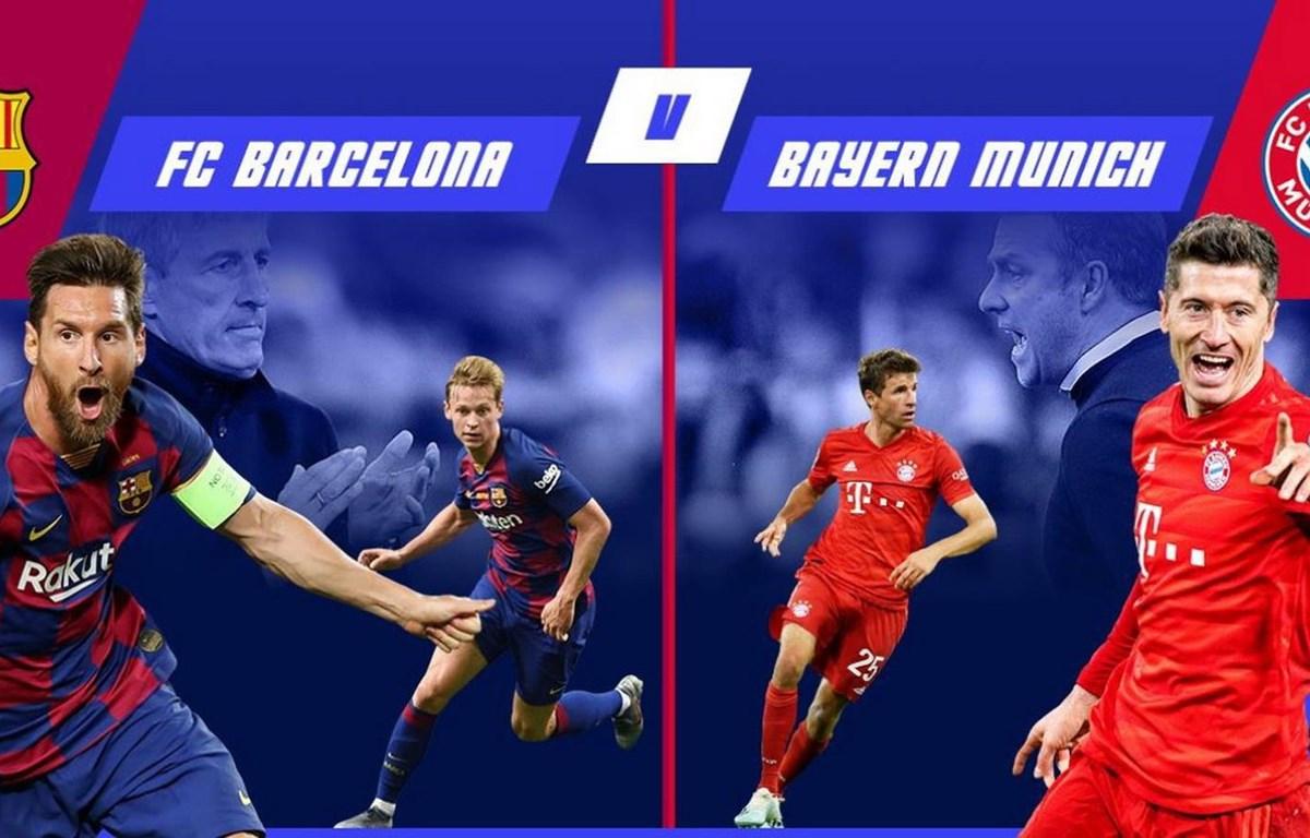 Barcelona và Bayern sẽ quyết đấu tranh vé bán kết Champions League. (Nguồn: sportco.io)