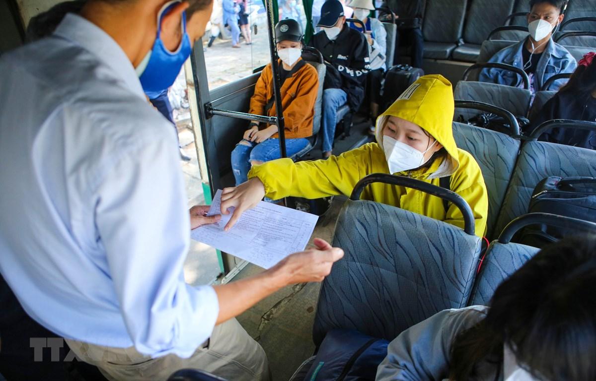 Ban tổ chức kiểm tra đối chiếu thông tin các học sinh, sinh viên trước lúc lên xe về Quảng Nam cách ly. (Ảnh: Trần Lê Lâm/TTXVN)