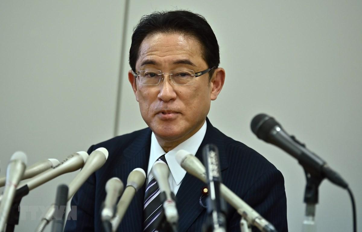 Cựu Ngoại trưởng Nhật Bản Fumio Kishida thông báo ý định ra tranh cử trong cuộc bầu cử Chủ tịch LDP. (Ảnh: AFP/TTXVN)