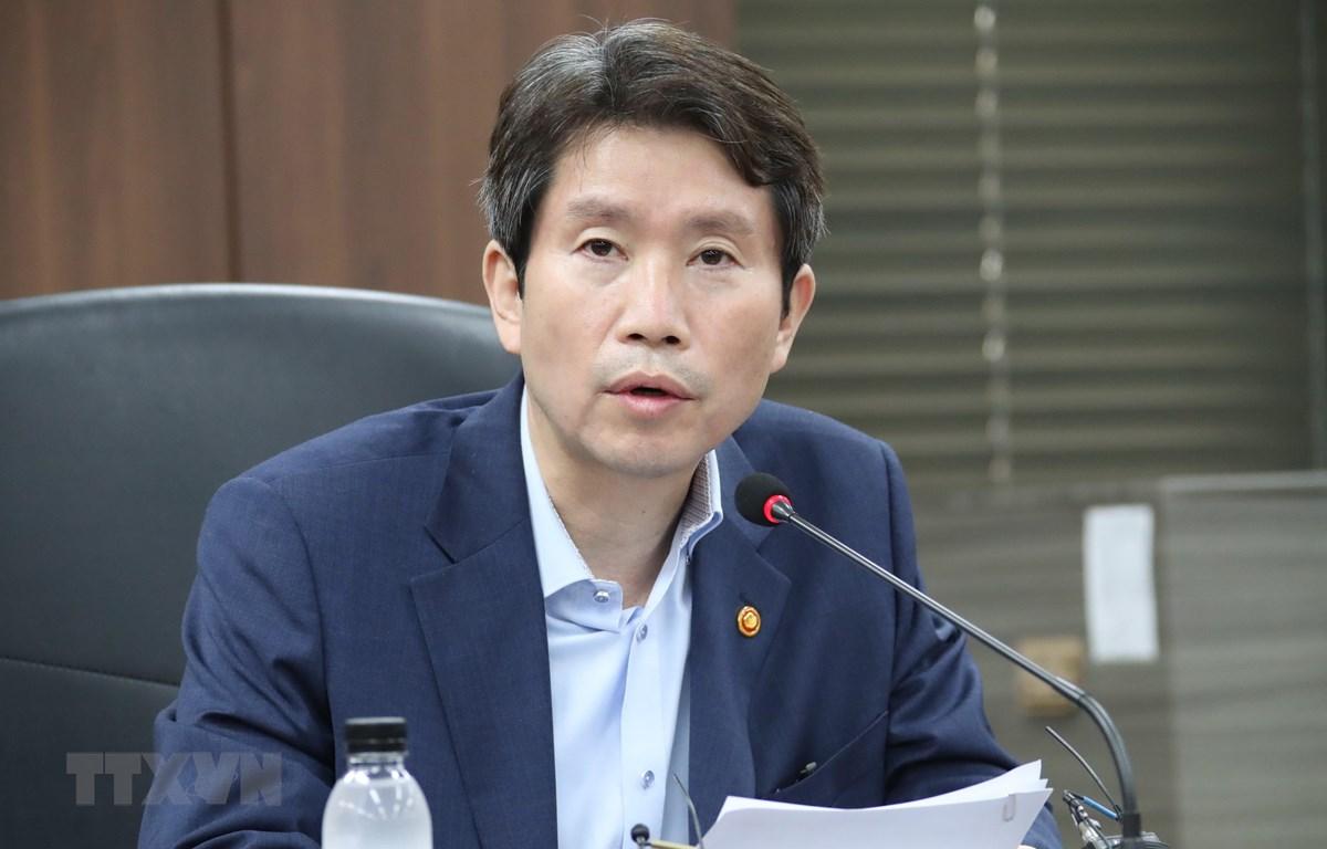 Bộ trưởng Thống nhất Hàn Quốc Lee In-young phát biểu trong một cuộc họp tại thủ đô Seoul. (Ảnh: Yonhap/TTXVN)
