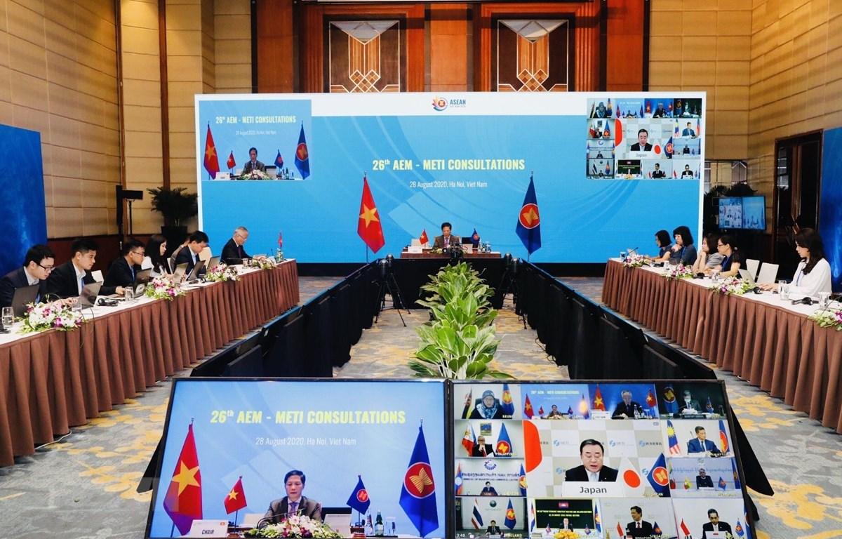 Quang cảnh Hội nghị tham vấn Bộ trưởng Kinh tế ASEAN-Nhật Bản lần thứ 26. (Ảnh: Trần Việt/TTXVN)