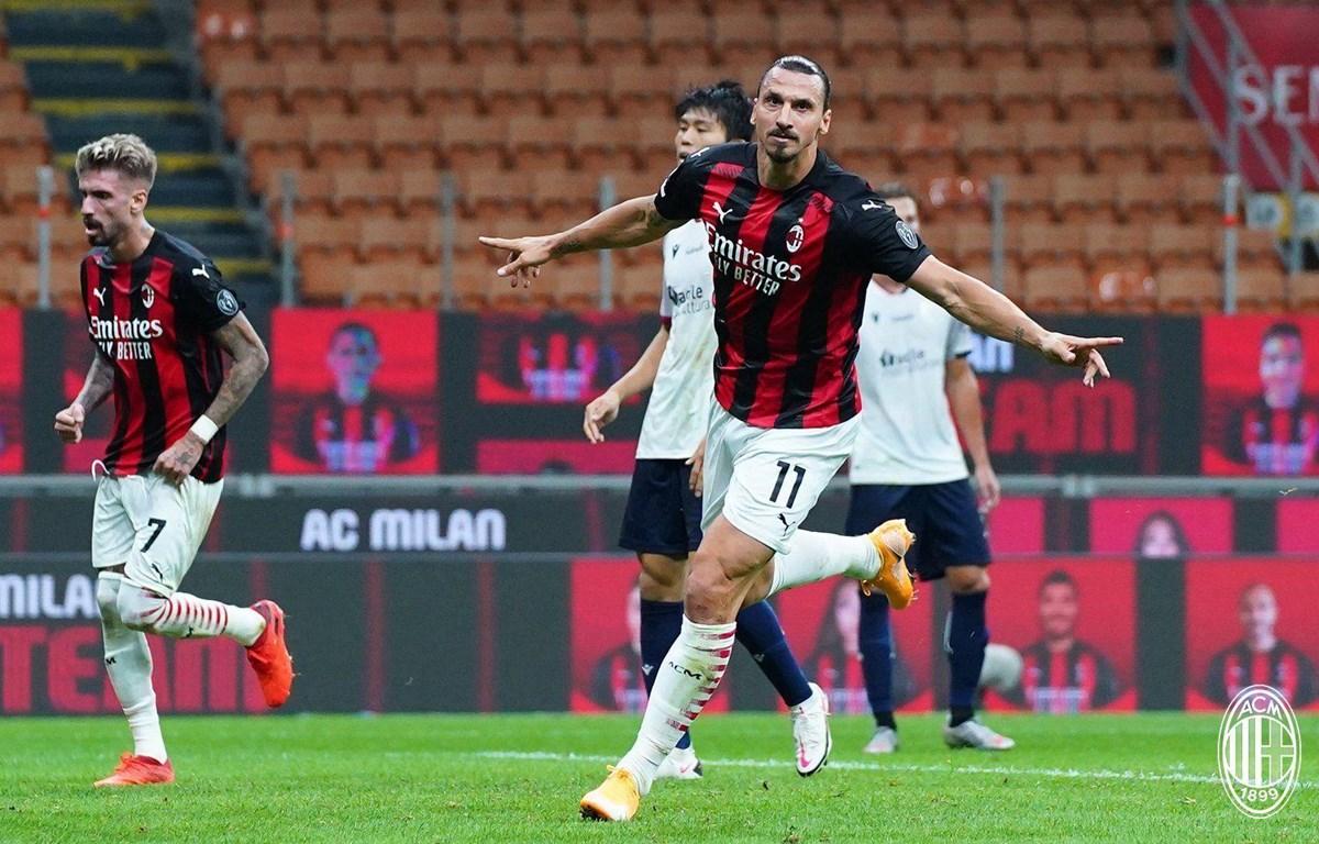 Ibrahimovic lập cú đúp giúp Milan chiến thắng. (Nguồn: ACMilan)