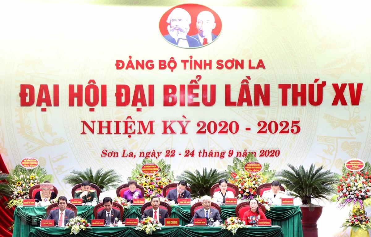 Khai mạc Đại hội Đại biểu Đảng bộ tỉnh Sơn La lần thứ XV, nhiệm kỳ 2020-2025. (Ảnh: Quang Quyết/TTXVN)