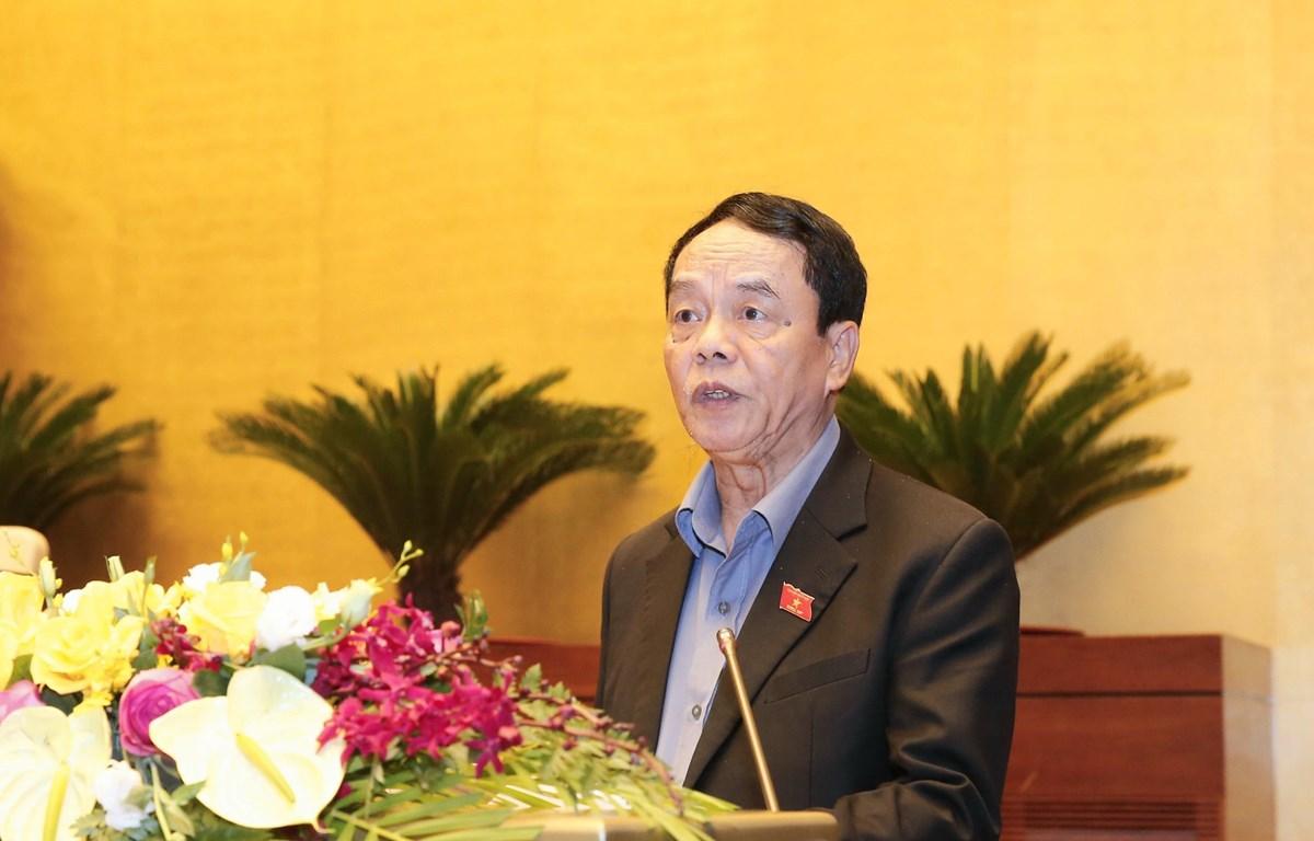 Trong ảnh: Ủy viên Ủy ban Thường vụ Quốc hội, Chủ nhiệm Ủy ban Quốc phòng và An ninh của Quốc hội Võ Trọng Việt trình bày Báo cáo giải trình, tiếp thu, chỉnh lý dự thảo Luật Biên phòng Việt Nam. (Ảnh: Doãn Tấn/TTXVN)