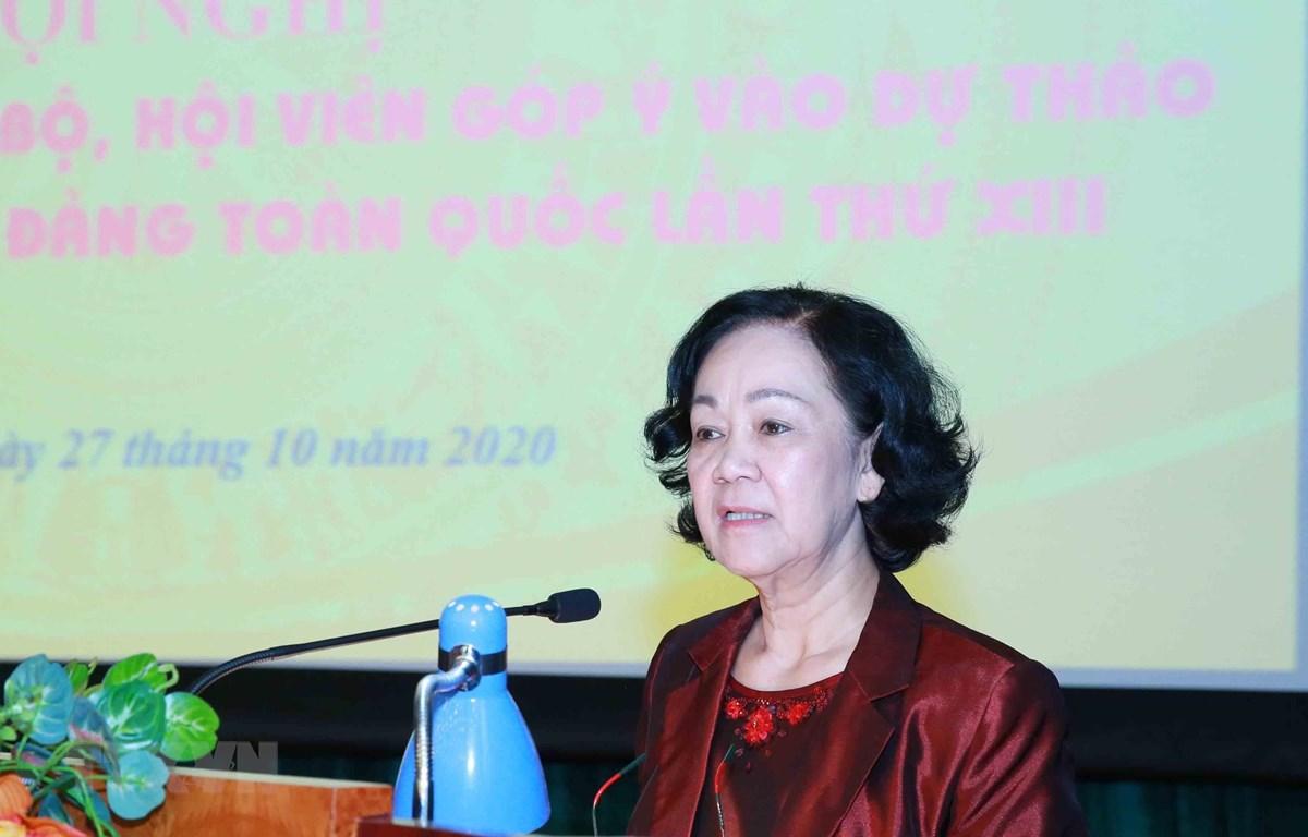 Đồng chí Trương Thị Mai, Uỷ viên Bộ Chính trị, Bí thư Trung ương Đảng, Trưởng Ban Dân vận Trung ương phát biểu chỉ đạo Hội nghị. (Ảnh: Phương Hoa/TTXVN)