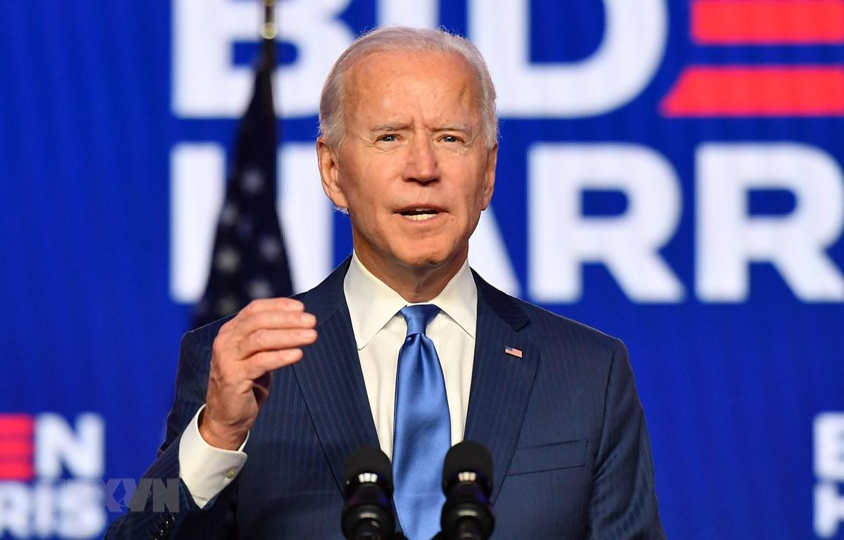 Ông Joe Biden phát biểu trong cuộc họp báo tại Wilmington, Delaware. (Ảnh: AFP/TTXVN)