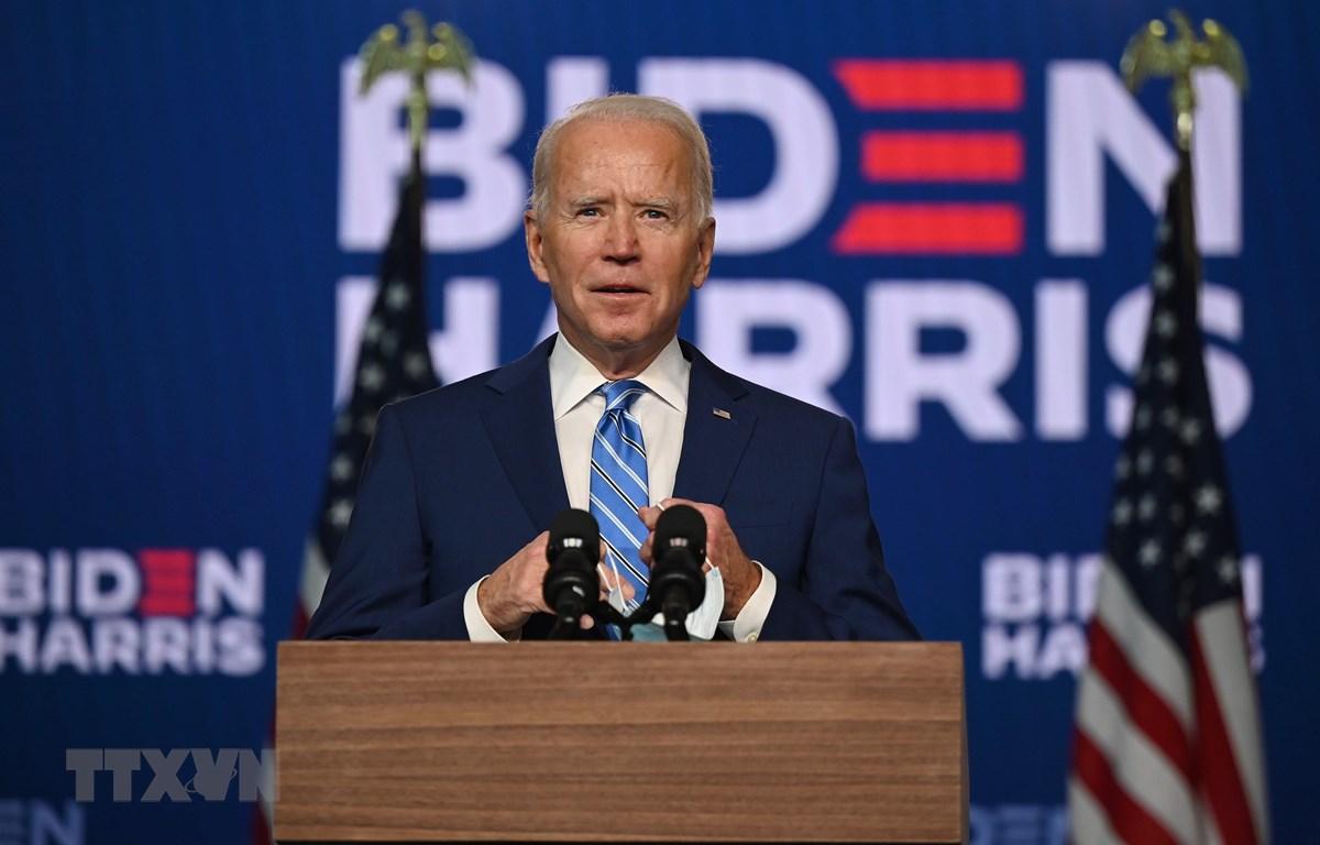 Ông Joe Biden phát biểu trong cuộc họp báo sau Ngày Bầu cử, ở Wilmington, Delaware. (Ảnh: AFP/TTXVN)