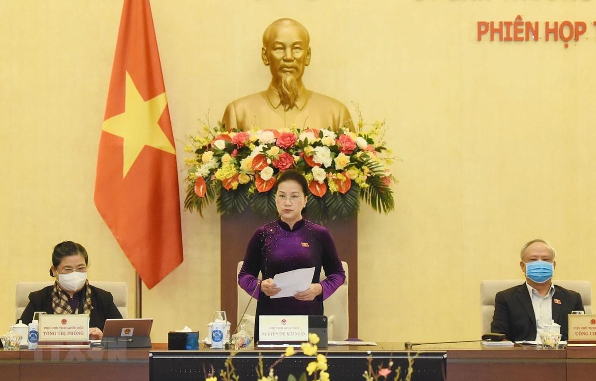Chủ tịch Quốc hội Nguyễn Thị Kim Ngân chủ trì và phát biểu khai mạc Phiên họp thứ 51 của Ủy ban Thường vụ Quốc hội. (Ảnh: Trọng Đức/TTXVN)