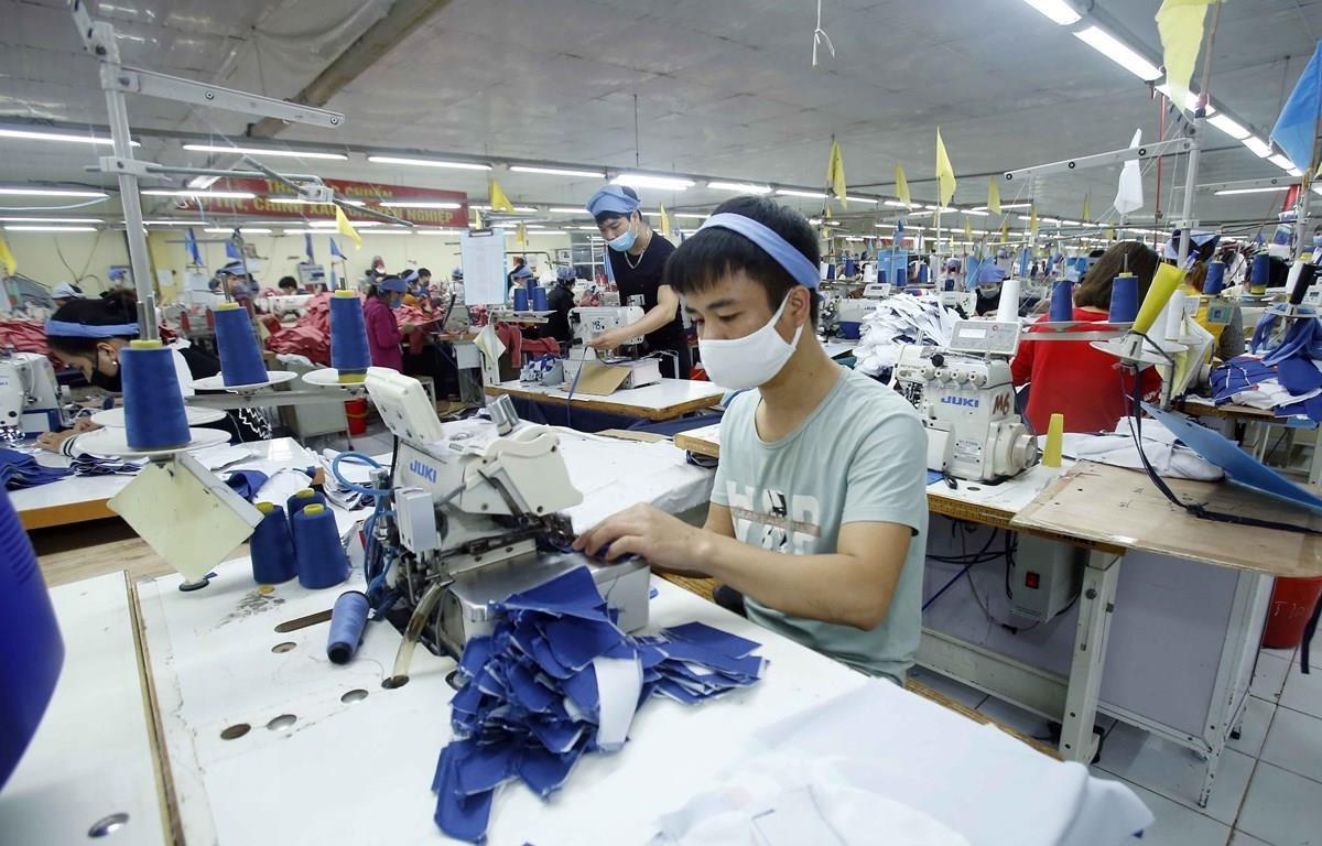 Sản xuất sản phẩm may mặc tại Công ty Cổ phần may Tiên Hưng (huyện Tiên Lữ, Hưng Yên). (Ảnh: Phạm Kiên/TTXVN)
