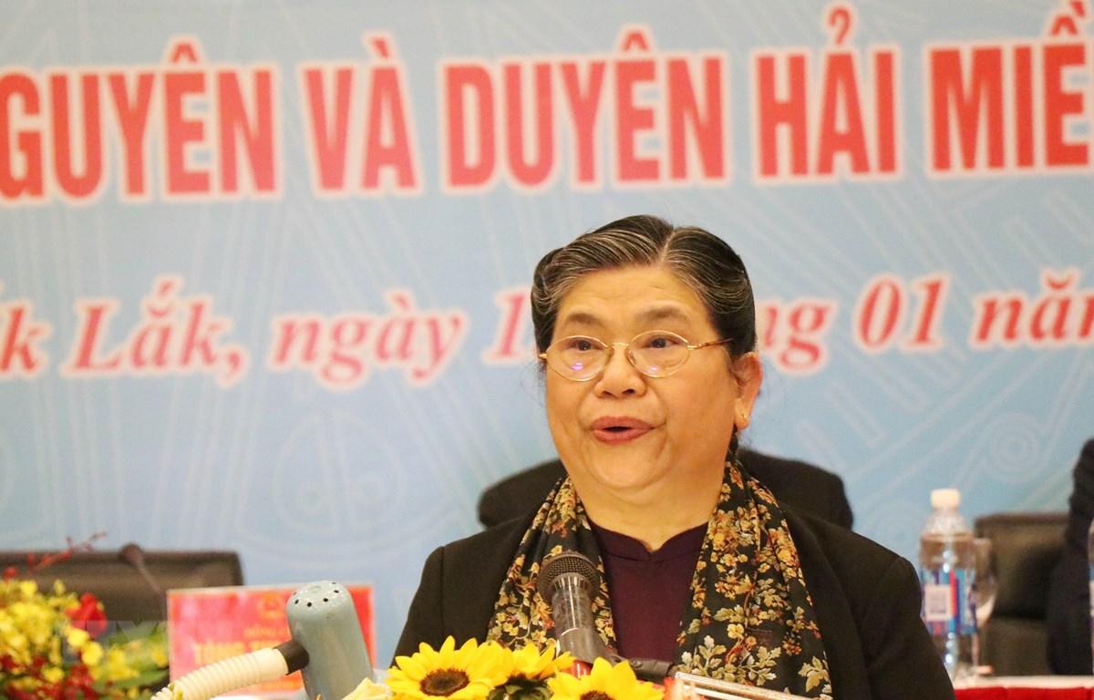 Bà Tòng Thị Phóng, Ủy viên Bộ Chính trị, Phó Chủ tịch Thường trực Quốc hội phát biểu tại Hội thảo. (Ảnh: Tuấn Anh/TTXVN)