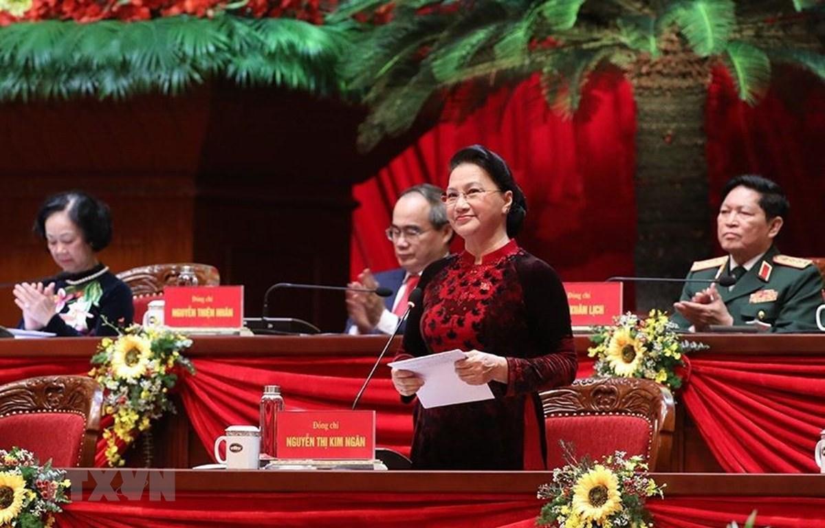Chủ tịch Quốc hội Nguyễn Thị Kim Ngân cảm ơn tình cảm hữu nghị, sự hợp tác, ủng hộ của các tổ chức và bạn bè quốc tế đã dành cho Đảng Cộng sản Việt Nam và nhân dân Việt Nam. (Ảnh: TTXVN)