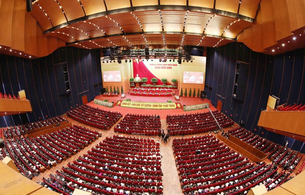 Toàn cảnh phiên thảo luận các văn kiện Đại hội XIII của Đảng tại hội trường Trung tâm Hội nghị Quốc gia, sáng 28/1/2021. (Ảnh: TTXVN)