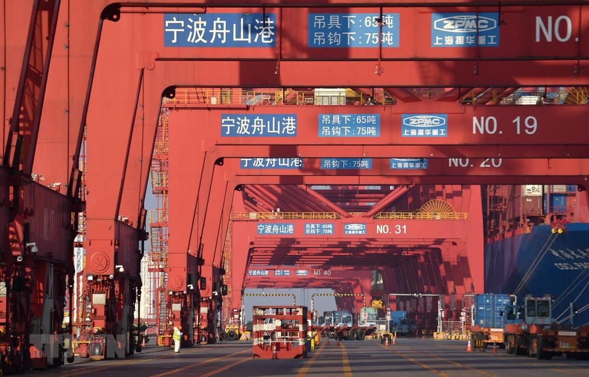 Quang cảnh cảng hàng hóa tại Ninh Ba, tỉnh Chiết Giang, Trung Quốc, ngày 19/2. (Ảnh: THX/TTXVN)