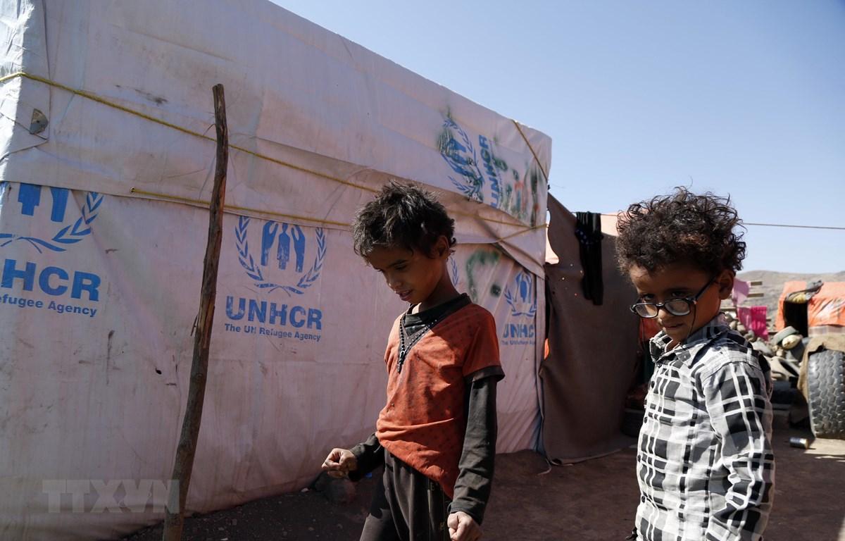 Trẻ em Yemen tại trại tị nạn Dharawan ở gần Sanaa. (Ảnh: THX/TTXVN)