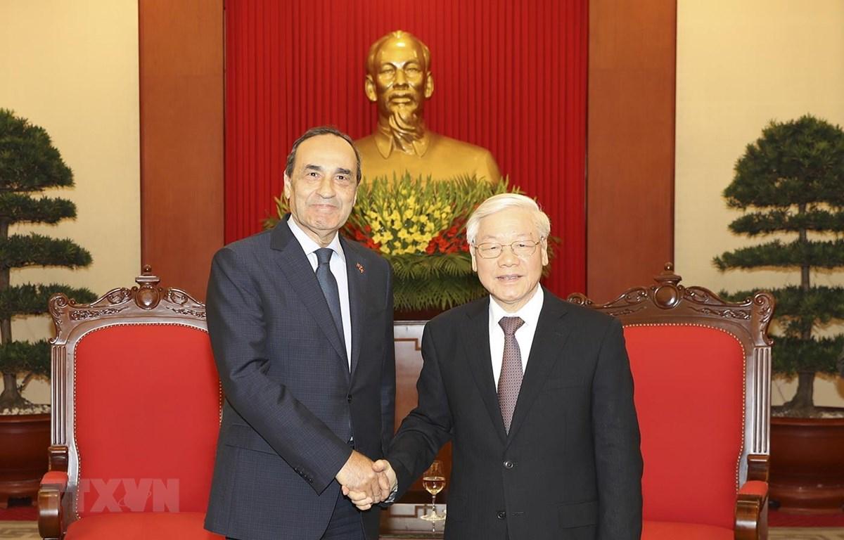 Tổng Bí thư Đảng Cộng sản Việt Nam Nguyễn Phú Trọng tiếp Chủ tịch Hạ viện Maroc Habib El Malki thăm chính thức Việt Nam (Hà Nội, 19/12/2017). (Ảnh: Trí Dũng/TTXVN)